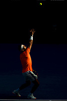 16th February 2021, Melbourne, Victoria, Australia; Rafael Nadal of Spain serves the ball during round 4 of the 2021 Australian Open on February 15 2021, at Melbourne Park in Melbourne, Australia.