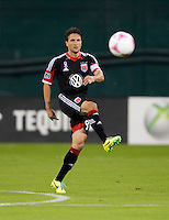John Thorrington (8) of D.C. United passes the ball during a Major League Soccer game at RFK Stadium in Washington, DC.  The Chicago Fire defeated D.C. United, 3-0.