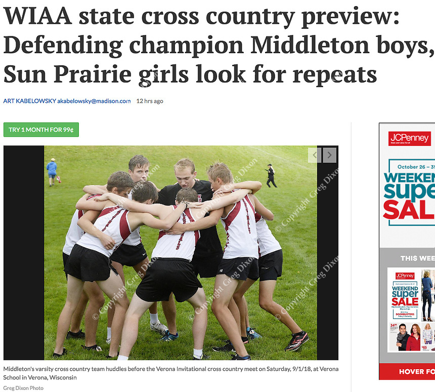 Wisconsin WIAA state cross country preview. Pictured here: Middleton's team huddles before Verona Invitational cross country meet on 9/1/18 | Wisconsin State Journal article page B6 Sports 10/26/18 and online at https://madison.com/wsj/sports/high-school/cross-country/wiaa-state-cross-country-preview-defending-champion-middleton-boys-sun/article_16dac3a3-2fc5-54a5-9dbb-5e9c8f969c2f.html