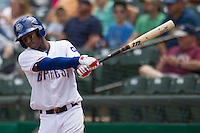 Round Rock Express shortstop Jurickson Profar #10 practices his swing in the on deck circle against the New Orleans Zephyrs during the Pacific Coast League baseball game on April 21, 2013 at the Dell Diamond in Round Rock, Texas. Round Rock defeated New Orleans 7-1. (Andrew Woolley/Four Seam Images).