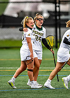 17 April 2021: University of Vermont Catamount Attacker Taylor Mullen, a Junior from Delray Beach, FL, is hugged by teammate Meghan O'Connor after Taylor scores Vermont's 6th goal against the UMBC Retrievers at Virtue Field in Burlington, Vermont. The Lady Cats fell to the Retrievers 11-8 in the America East Women's Lacrosse matchup. Mandatory Credit: Ed Wolfstein Photo *** RAW (NEF) Image File Available ***