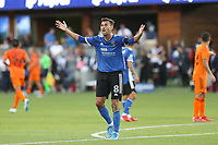 SAN JOSE, CAL - JULY 24: Chris Wondolowski #8 of the San Jose Earthquakes during a game between Houston Dynamo and San Jose Earthquakes at PayPal Park on July 24, 2021 in San Jose, Cal.