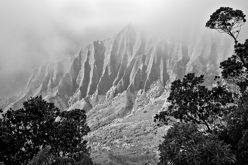 Kalalau Valley with fog. Koke'e State Park. Waimea Canyon. Kauai, Hawaii