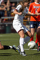 Boston College forward Stephanie McCaffrey (9) attempts to control the ball in a scramble in front of the net. Boston College defeated University of Virginia, 2-0, at the Newton Soccer Field, on September 18, 2011.