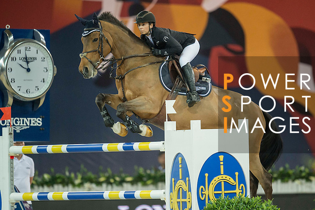 Jane Richard Philips of Switzerland riding Foica van den Bisschop during the Hong Kong Jockey Club Trophy competition, part of the Longines Masters of Hong Kong on 10 February 2017 at the Asia World Expo in Hong Kong, China. Photo by Juan Serrano / Power Sport Images