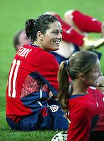 20 August 2004:  Julie Foudy shares some laughs with other players after the game against Japan during the quarterfinals at Kaftanzoglio Stadium in Thessaloniki, Greece.     USA defeated Japan, 2-1 .   Credit: Michael Pimentel / ISI