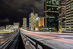 Car light trails on Cahill Express way in Sydney, NSW, Australia