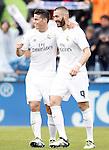 Real Madrid's James Rodriguez (l) and Karim Benzema celebrate goal during La Liga match. April 16,2016. (ALTERPHOTOS/Acero)