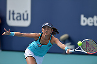MIAMI GARDENS, FL - MARCH 22:  Misaki Doi seen playing in Qualifying round on day 1 of the Miami Open on March 22, 2021 at Hard Rock Stadium in Miami Gardens, Florida. <br /> <br /> <br /> People:  Misaki Doi