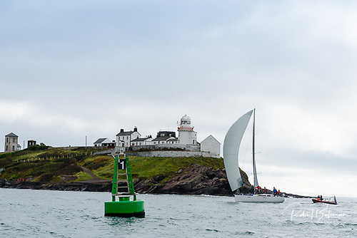 This might be the place to give Nieulargo a ceremonial welcome home to Cork Harbour, seen here as she finishes at Roche's Point to win the Fastnet 450 race in 2020. Photo: Robert Bateman