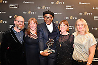 Picture by Simon Wilkinson/SWpix.com 01/122019 -  Rose d'Or 2019 Award Ceremony, red carpet arrivals and winners. Kings Place, London - Jay Blades with award. REALITY AND FACTUAL ENTERTAINMENT<br /> The Repair Shop – UK