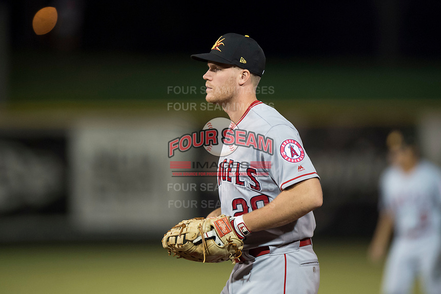 Mesa Solar Sox first baseman David MacKinnon (20), of the Los Angeles Angels organization, during an Arizona Fall League game against the Scottsdale Scorpions on October 9, 2018 at Scottsdale Stadium in Scottsdale, Arizona. The Solar Sox defeated the Scorpions 4-3. (Zachary Lucy/Four Seam Images)