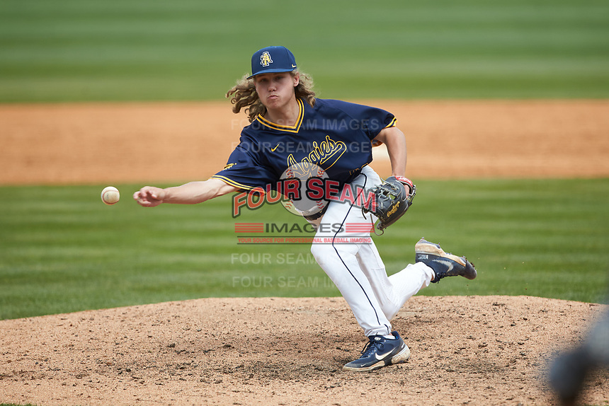 North Carolina A&T Aggies relief pitcher Logan Griffith (39) in action against the North Carolina Central Eagles at Durham Athletic Park on April 10, 2021 in Durham, North Carolina. (Brian Westerholt/Four Seam Images)