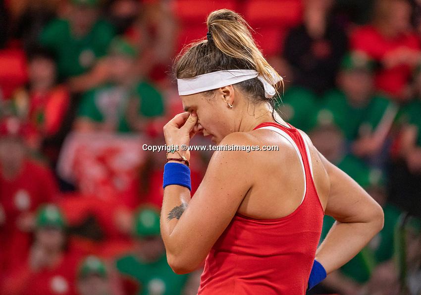 The Hague, The Netherlands, Februari 8, 2020,    Sportcampus, FedCup  Netherlands -  Balarus, First match on Saturday:  Sabalenka is sad (BLR))<br /> Photo: Tennisimages/Henk Koster