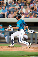 Grand Rapids Dam Breakers Austin Murr (13) bats during a game against the Fort Wayne TinCaps on August 21, 2021 at LMCU Ballpark in Comstock Park, Michigan.  The West Michigan Whitecaps rebranded for the day as the Grand Rapids Dam Breakers to bring awareness to the Grand River Restoration Project. (Mike Janes/Four Seam Images)