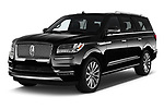 2019 Lincoln Navigator Select L Extended 4x2 5 Door SUV angular front stock photos of front three quarter view