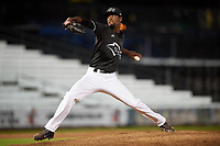 Quad Cities River Bandits relief pitcher Salvador Montano (2) delivers a pitch during a game against the Lake County Captains on May 6, 2017 at Modern Woodmen Park in Davenport, Iowa.  Lake County defeated Quad Cities 13-3.  (Mike Janes/Four Seam Images)