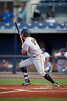 Bradenton Marauders first baseman Albert Baur (23) hits a single during a game against the Charlotte Stone Crabs on August 6, 2018 at Charlotte Sports Park in Port Charlotte, Florida.  Charlotte defeated Bradenton 2-1.  (Mike Janes/Four Seam Images)