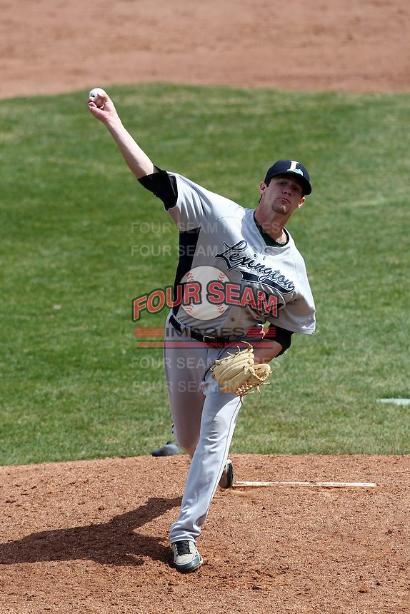 Lexington Legends pitcher Murilo Gouvea #34 delivers a pitch during a game against the Hagerstown Suns at Municipal Park on April 11, 2012 in Hagerstown, Maryland.  Lexington defeated Hagerstown 3-0.  (Mike Janes/Four Seam Images)