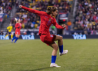 COLUMBUS, OH - NOVEMBER 07: Tobin Heath #17 of the United States follows through during a game between Sweden and USWNT at Mapfre Stadium on November 07, 2019 in Columbus, Ohio.