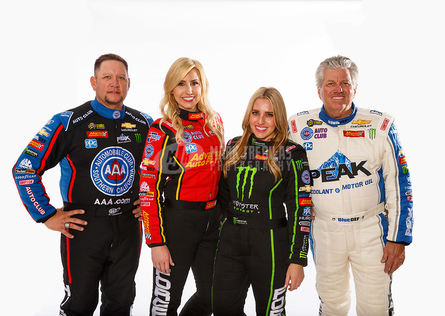Feb 7, 2018; Pomona, CA, USA; NHRA drivers (from left) Robert Hight, Courtney Force, Brittany Force and John Force pose for a portrait during media day at Auto Club Raceway at Pomona. Mandatory Credit: Mark J. Rebilas-USA TODAY Sports