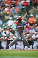 Dominican Republican shortstop Jose Reyes (7) at bat during a Spring Training exhibition game against the Baltimore Orioles on March 7, 2017 at Ed Smith Stadium in Sarasota, Florida.  Baltimore defeated the Dominican Republic 5-4.  (Mike Janes/Four Seam Images)