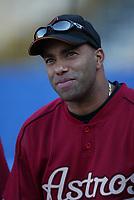Jose Vizcaino of the Houston Astros during a 2003 season MLB game at Dodger Stadium in Los Angeles, California. (Larry Goren/Four Seam Images)