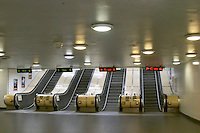 Escalators going up from the platform at the Ostermalmstorg station. The Stockholm subway. Stockholm. Sweden, Europe.