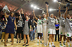 Mar. 31, 2014; The Notre Dame Fighting Irish women's basketball team sing the Alma Mater after the defeating Baylor in the finals of the Notre Dame regional in the 2014 NCAA Tournament at the Purcell Pavilion. Photo by Barbara Johnston/University of Notre Dame