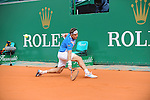 David Ferrer (ESP) defeats Rafael Nadal (ESP) 7-6(1), 6-4 at the Monte Carlo Rolex Masters on April 18, 2014 in Monte Carlo, Monaco