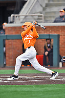 Tennessee Volunteers second baseman Jake Rucker (7) swings at a pitch during a game against the Appalachian State Mountaineers at Lindsey Nelson Stadium on February 16, 2019 in Knoxville, Tennessee. The Volunteers defeated Mountaineers 2-0. (Tony Farlow/Four Seam Images)