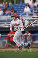 Auburn Doubledays catcher Nic Perkins (43) grounds out in the top of the fourth inning during a game against the Batavia Muckdogs on July 6, 2017 at Dwyer Stadium in Batavia, New York.  Auburn defeated Batavia 4-3.  (Mike Janes/Four Seam Images)