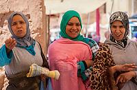 Elkhorbat, Morocco.  Three Berber Women in the Market.
