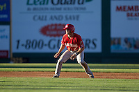Gunnar Heidt (2) of the Vancouver Canadians leads off second base during a game against the Everett Aquasox at Everett Memorial Stadium in Everett, Washington on July 27, 2015.  Everett defeated Vancouver 6-0. (Ronnie Allen/Four Seam Images)