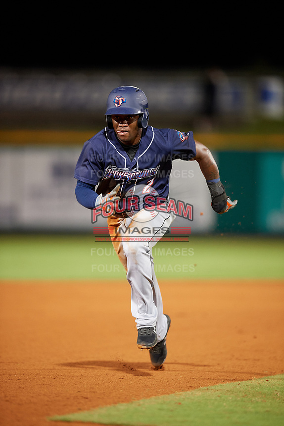 Jacksonville Jumbo Shrimp pinch hitter Anfernee Seymour (2) runs the bases during a game against the Pensacola Blue Wahoos on August 15, 2018 at Blue Wahoos Stadium in Pensacola, Florida.  Jacksonville defeated Pensacola 9-2.  (Mike Janes/Four Seam Images)
