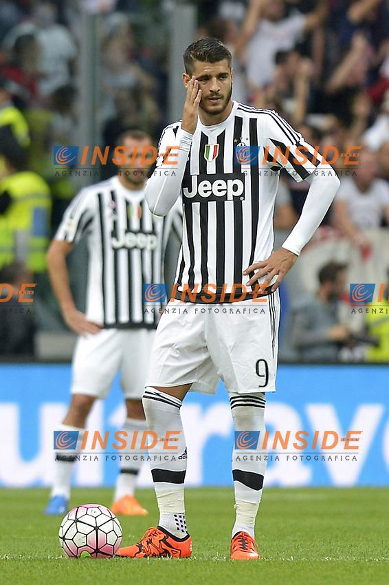 Delusione Alvaro Morata Juventus, dejection,<br /> Torino 04-10-2015, Juventus Stadium, Football Calcio 2015/2016 Serie A, Juventus - Bologna, Foto Filippo Alfero/Insidefoto