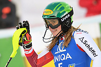 29th December 2020; Semmering, Austria; FIS Womens Giant Slalom World Cu Skiing; Katharina Liensberger of Austria reacts after her 1st run of women Slalom competition of FIS ski alpine world cup at the Panoramapiste in Semmering