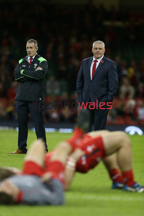 Wales coaches Rob Howley and Warren Gatland<br /> Dove Men Series 2014<br /> Wales v Australia<br /> Millennium Stadium<br /> 08.11.14<br /> ©Steve Pope-SPORTINGWALES