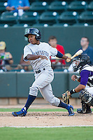 Terrance Gore (9) of the Wilmington Blue Rocks follows through on his swing against the Winston-Salem Dash at BB&T Ballpark on July 6, 2014 in Winston-Salem, North Carolina.  The Dash defeated the Blue Rocks 7-1.   (Brian Westerholt/Four Seam Images)