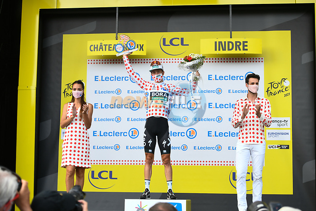 Ide Schelling (NED) Bora-Hansgrohe retains the mountains Polka Dot Jersey at the end of Stage 6 of the 2021 Tour de France, running 160.6km from Tours to Chateauroux, France. 1st July 2021.  <br /> Picture: A.S.O./Charly Lopez | Cyclefile<br /> <br /> All photos usage must carry mandatory copyright credit (© Cyclefile | A.S.O./Charly Lopez)