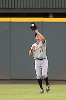 Salt Lake Bees outfielder Peter Bourjos (17) makes a catch during the Pacific Coast League baseball game against the Round Rock Express on August 10, 2013 at the Dell Diamond in Round Rock, Texas. Round Rock defeated Salt Lake 9-6. (Andrew Woolley/Four Seam Images)