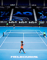 14th February 2021, Melbourne, Victoria, Australia; Naomi Osaka of Japan changes sides between games during round 4 of the 2021 Australian Open on February 14 2020, at Melbourne Park in Melbourne, Australia.