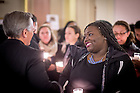 Jan. 18, 2016; Students chat with Fr. John Jenkins, C.S.C. before a midnight prayer service at the Main Building rotunda in honor of the Rev. Martin Luther King Jr. holiday.  The service was the inaugural event of a campus-wide Walk the Walk Week observance, during which students, faculty and staff have been asked to reflect on the values central to Martin Luther King Jr.'s legacy and the mission of Notre Dame. (Photo by Matt Cashore/University of Notre Dame)
