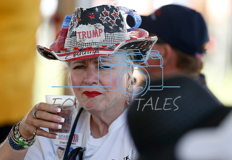 Cher Daniels, of Sparks, listens to speakers at the 4th annual Basque Fry in Gardnerville, Nev., on Saturday, Aug. 25, 2018. Hosted by the Morning in Nevada PAC, the event is a fundraiser for conservative candidates and issues and includes traditional Basque dishes like deep-fried lamb testicles. (Cathleen Allison/Las Vegas Review Journal)