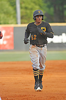 Bristol Pirates catcher Gabriel Brito (52) running the bases during a game against the Greeneville Reds at Pioneer Field on June 19, 2018 in Greeneville, Tennessee. Bristol defeated Greeneville 10-2. (Robert Gurganus/Four Seam Images)