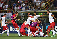 Football: Uefa under 21 Championship 2019, Italy -Poland, Renato Dall'Ara stadium Bologna Italy on June19, 2019.<br /> Poland's players celebrate after winning 1-0 the Uefa under 21 Championship 2019 football match between Italy and Poland at Renato Dall'Ara stadium in Bologna, Italy on June19, 2019.<br /> UPDATE IMAGES PRESS/Isabella Bonotto