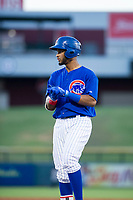 AZL Cubs designated hitter Jonathan Sierra (22) stands on first base during the game against the AZL White Sox on August 13, 2017 at Sloan Park in Mesa, Arizona. AZL White Sox defeated the AZL Cubs 7-4. (Zachary Lucy/Four Seam Images)