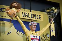 Yellow Jersey // GC leader Tadej Pogacar (SVN/UAE-Emirates)Stage 10 from Albertville to Valence (190.7km)<br /> 108th Tour de France 2021 (2.UWT)<br /> <br /> ©kramon