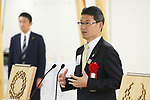 Shunji Kono, <br /> JANUARY 29, 2020 : <br /> Tokyo 2020 to Host Press Tour of Village Plaza in Athletes Village and Ceremony Inviting Municipalities Participating in Operation BATON, <br /> in Tokyo, Japan. <br /> (Photo by Naoki Morita/AFLO SPORT)