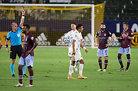 CARSON, CA - SEPTEMBER 19: Referee Ted Unkel shows red to Julian Araujo #22 of the Los Angeles Galaxy during a game between Colorado Rapids and Los Angeles Galaxy at Dignity Heath Sports Park on September 19, 2020 in Carson, California.